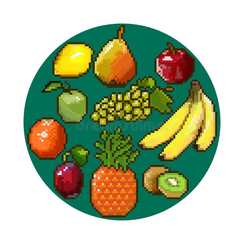 Illustration de pixel Ensemble de nourriture - portez des fruits en cercle illustration de vecteur
