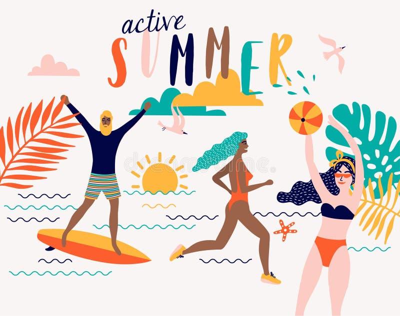 Illustration de plage de vecteur d'été avec des personnes de bande dessinée illustration libre de droits