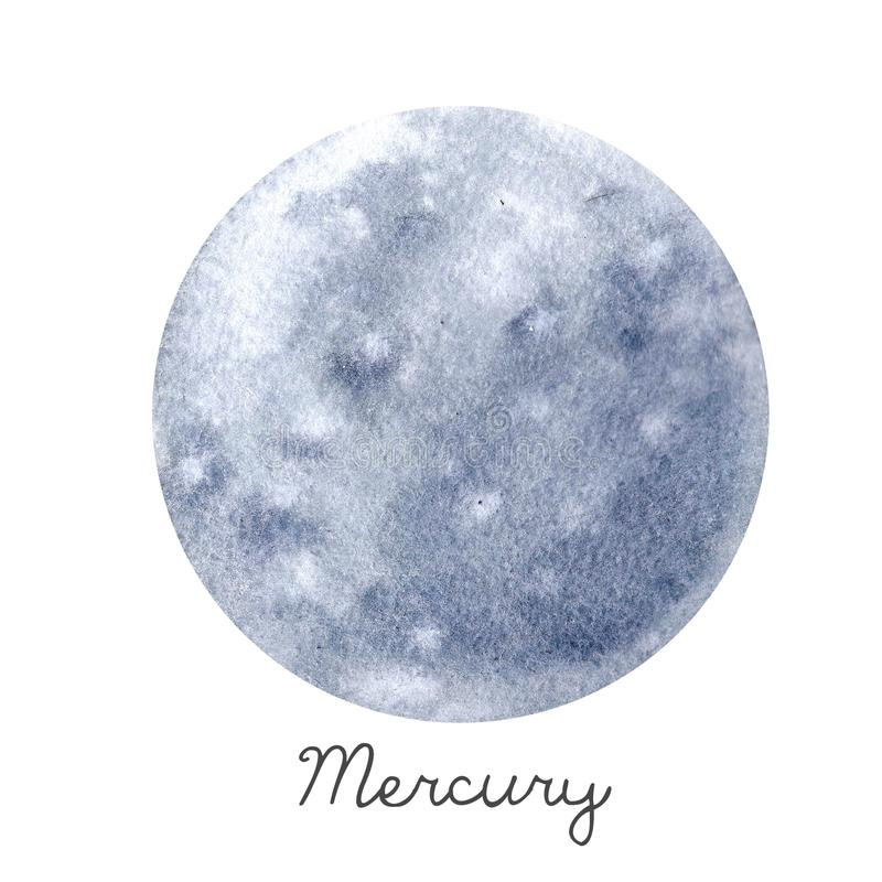 Illustration de planète de Mercury d'aquarelle illustration stock