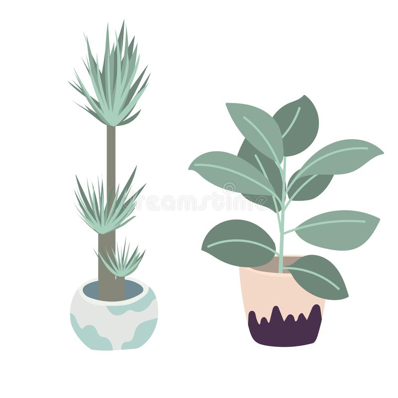 Illustration de plantes d'int?rieur de vecteur Placez de deux fleurs de vecteur Fleurs mises en pot dans des couleurs en pastel Y illustration de vecteur