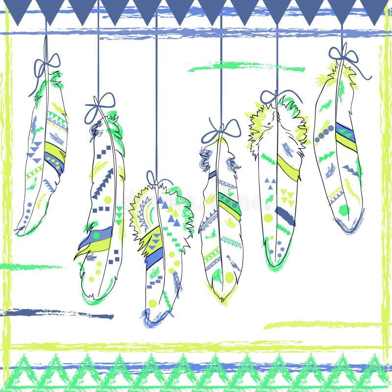 Illustration de plume de vintage avec des plumes de Navajo illustration stock