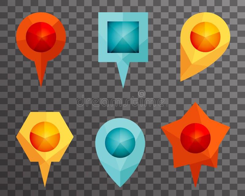 Illustration de point de repère et de Mark Polygon Icons Vector Template d'indicateur de carte de symbole de Showplace illustration libre de droits