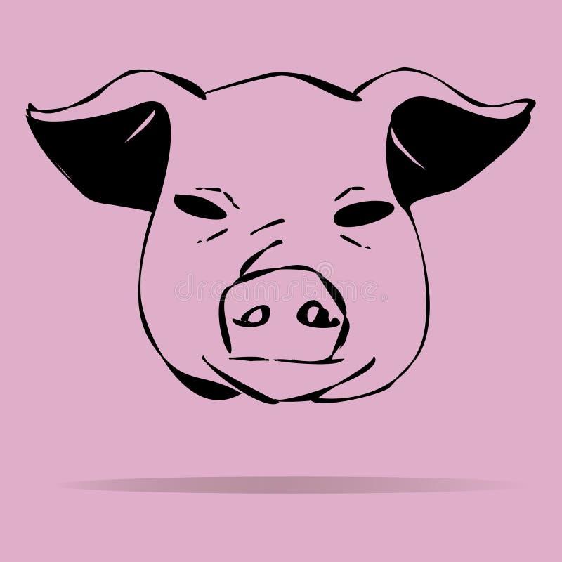 Illustration de porcs sur un fond coloré illustration stock