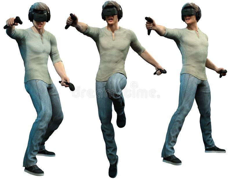Illustration de port du casque 3D de réalité virtuelle d'homme illustration stock