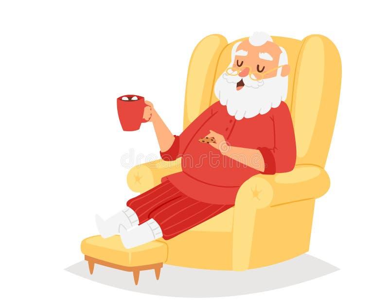 Illustration de pose de caractère de vecteur de Santa Claus de Noël illustration stock