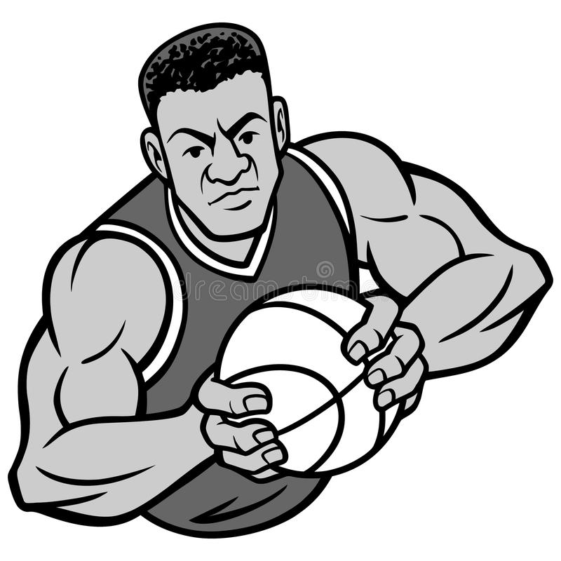 Illustration de pose d'offense de joueur de basket illustration libre de droits