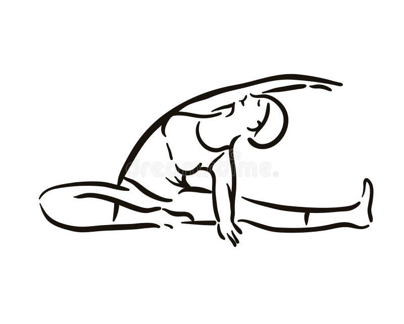Illustration de pose de yoga sur le backgroundRelax blanc et méditer Style de vie sain Formation d'équilibre illustration libre de droits