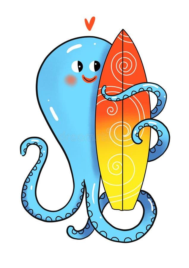 Illustration de poulpe et de planche de surf de couleur d'isolement sur le fond blanc illustration libre de droits