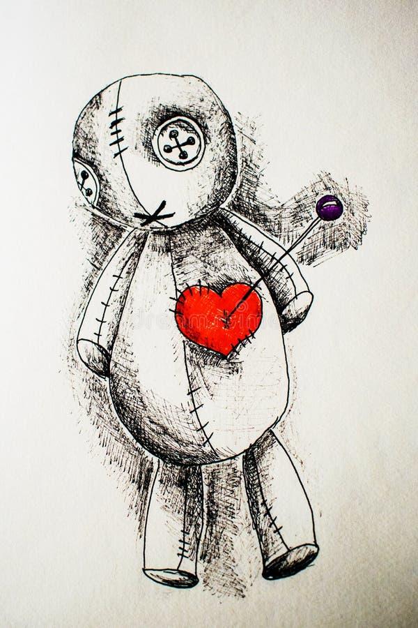 Illustration de poup?e de vaudou avec la poign?e noire avec le coeur images libres de droits