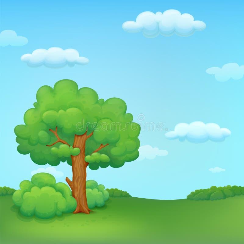Illustration de pré d'été avec l'arbre et les buissons illustration stock