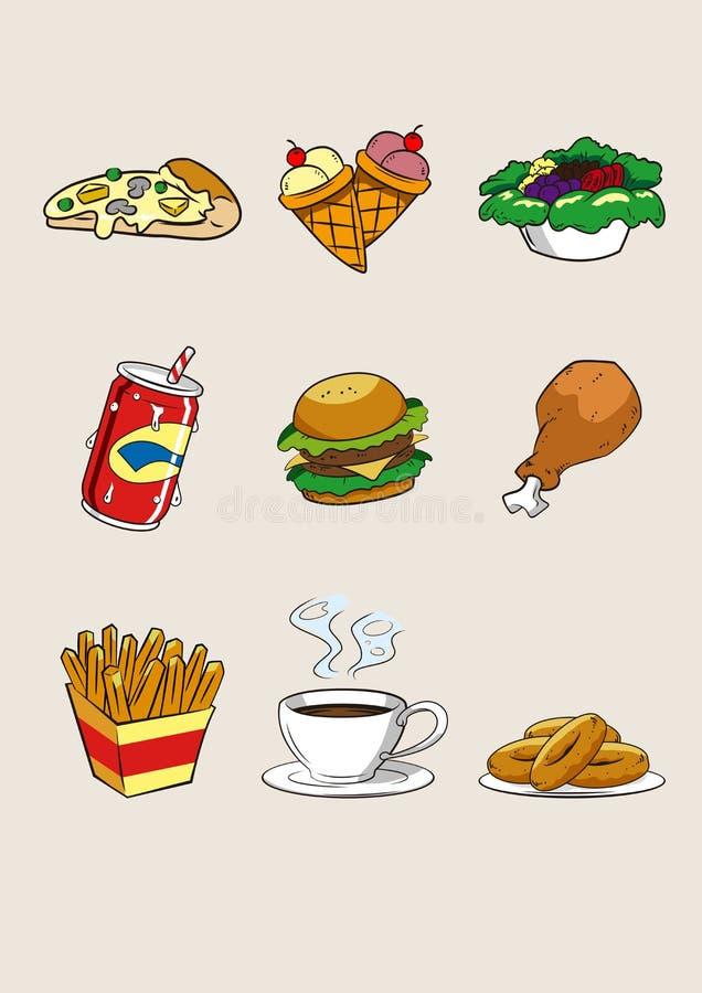 Illustration de prêt-à-manger d'icône de bande dessinée de nourriture et de boisson photo libre de droits