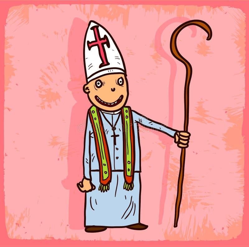Illustration de prêtre de bande dessinée, icône de vecteur illustration stock