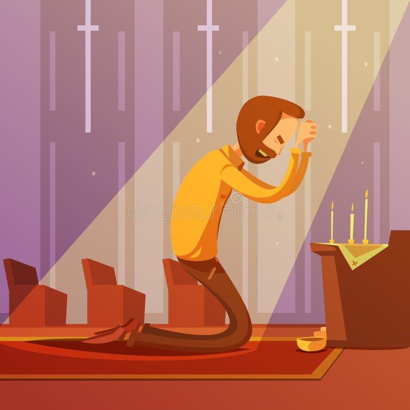 Illustration de prière d'homme illustration stock