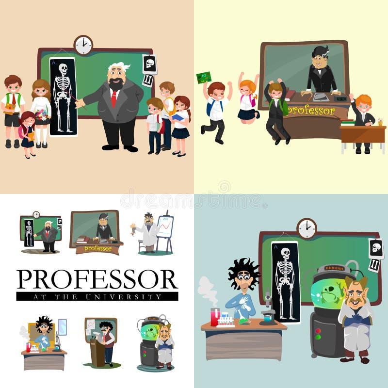 Illustration de professeur et d'étudiant, fille et garçon avec le professeur dans la salle de classe d'université, université de  illustration de vecteur
