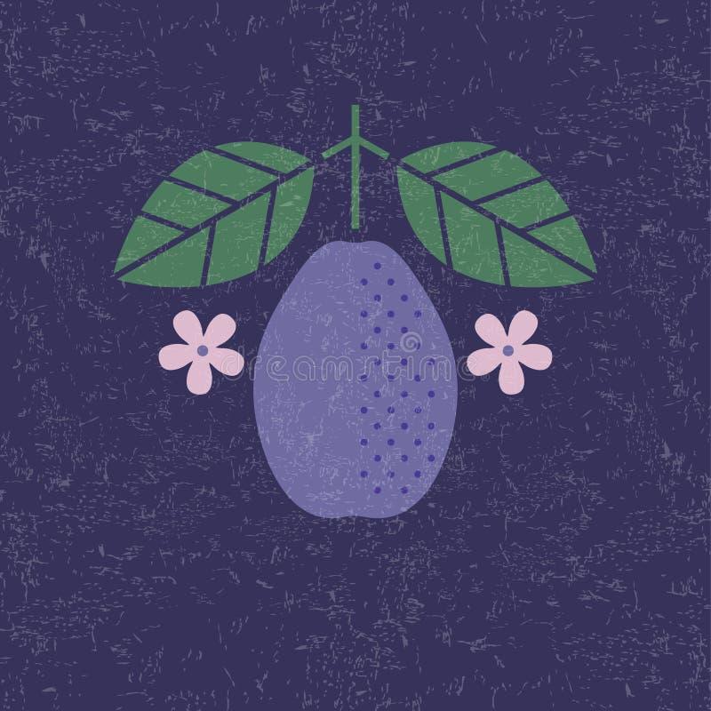 Illustration de prune Prune avec des feuilles et des fleurs sur le fond minable Conception plate illustration libre de droits