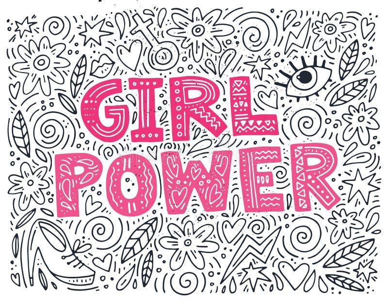 Illustration de puissance de fille illustration de vecteur