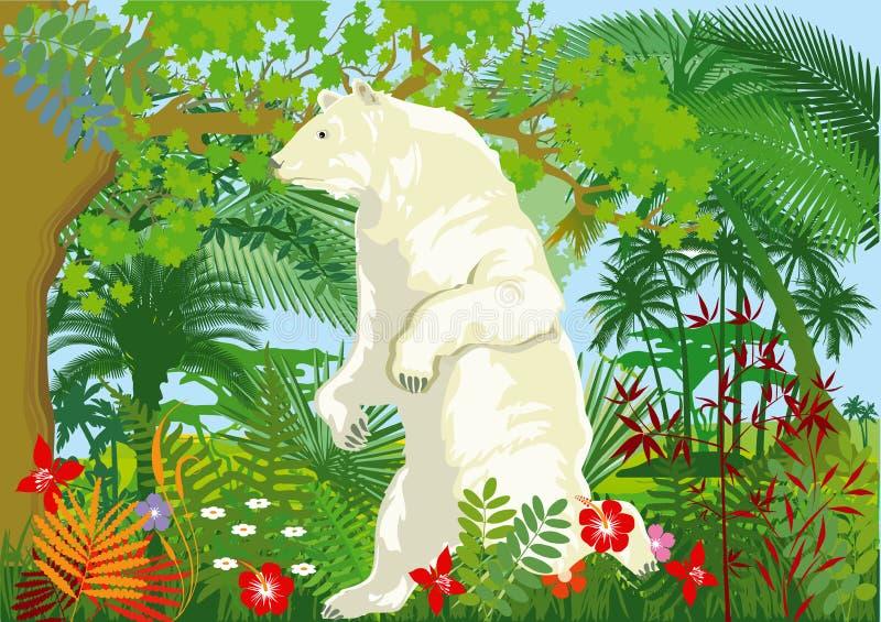 Illustration de réchauffement global avec l'ours blanc dans la jungle illustration stock
