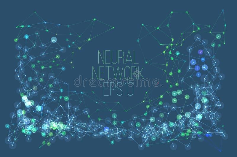 Illustration de réseau neurologique Processus abstrait d'apprentissage automatique Couverture géométrique de données illustration stock