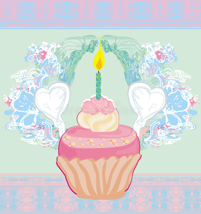 Illustration de rétro carte mignonne de petits gâteaux - carte de joyeux anniversaire illustration de vecteur