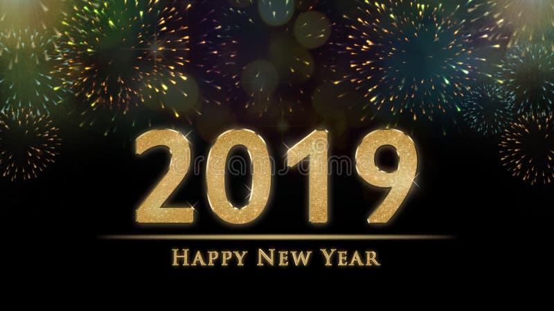 Illustration de 2019 réveillons de la Saint Sylvestre, carte avec les feux d'artifice et le texte colorés de bonne année image libre de droits