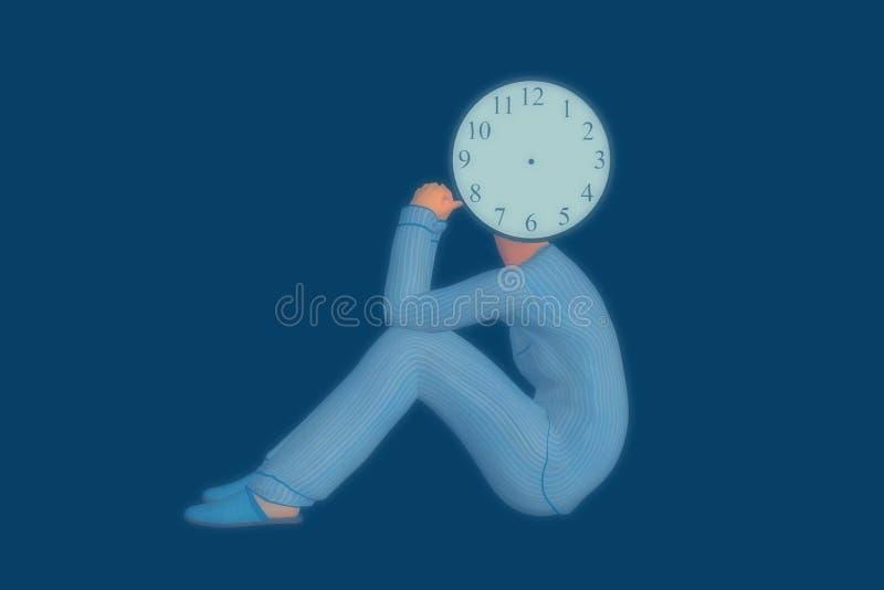 Illustration de rêveur de visage d'horloge illustration libre de droits