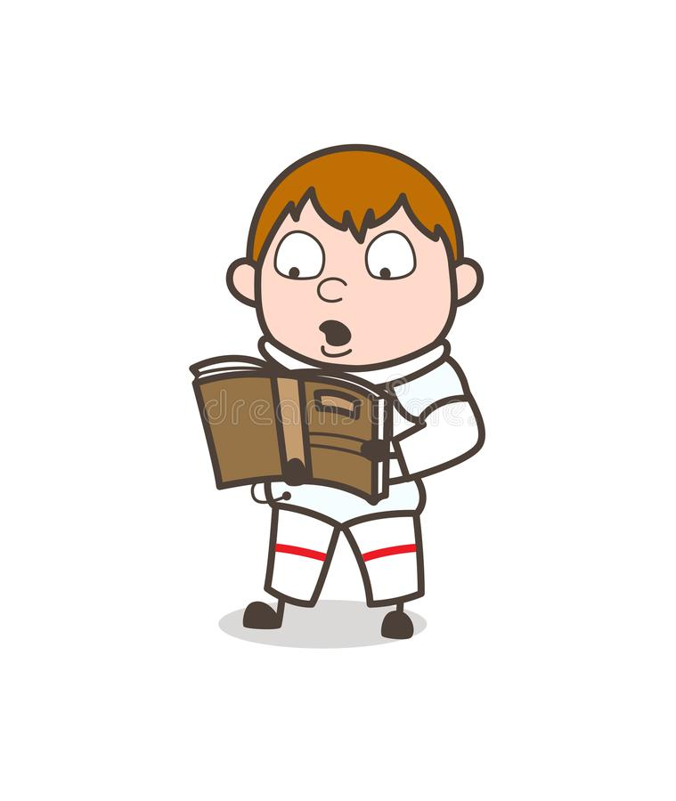 Illustration de Reading Book Vector d'astronaute de bande dessinée illustration de vecteur