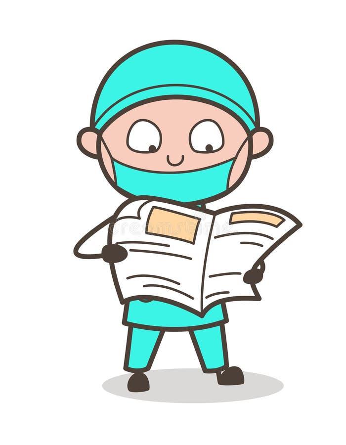 Illustration de Reading Newspaper Vector de chirurgien de bande dessinée illustration stock