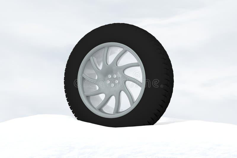 Illustration de rendu du concept 3d de pneu de glace de neige illustration stock