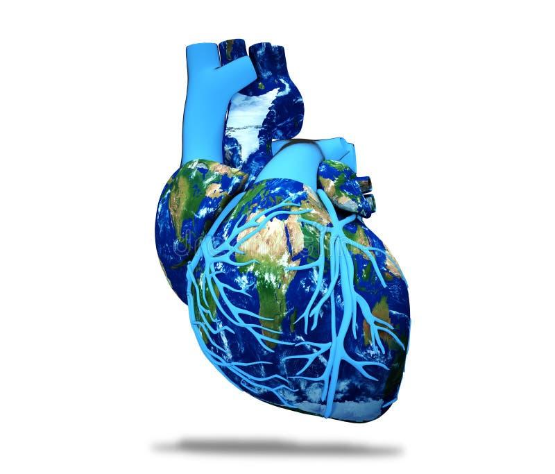 Illustration de rendu du concept 3d de jour de coeur du monde photos libres de droits