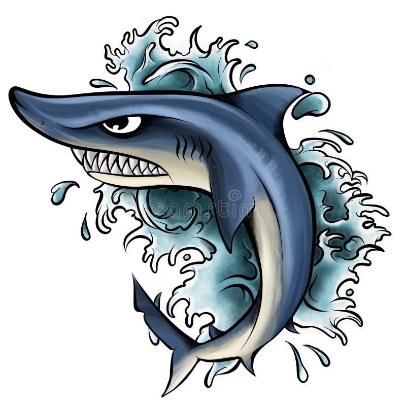 illustration de requin avec la bouche ouverte pleine des dents pointues Attaques de requin à partir de l'eau illustration libre de droits