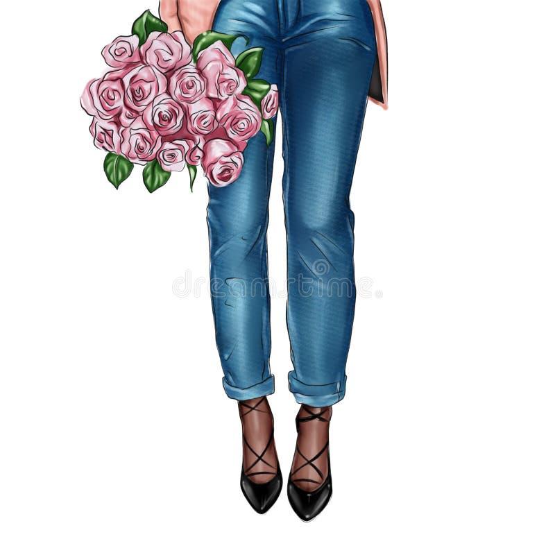 Illustration de ressort de mode des blues-jean de port de femme foncée de peau tenant le bouquet des roses roses fraîches illustration libre de droits