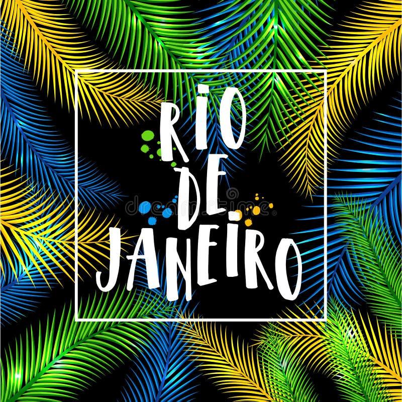 Illustration de Rio de Janeiro des vacances du Brésil de couleurs du drapeau brésilien, carnaval du Brésil Été Tiré par la main illustration libre de droits