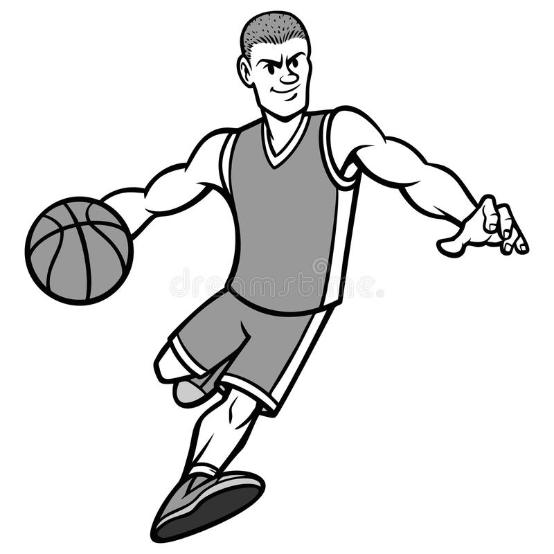 Illustration de ruissellement de boule de joueur de basket illustration libre de droits