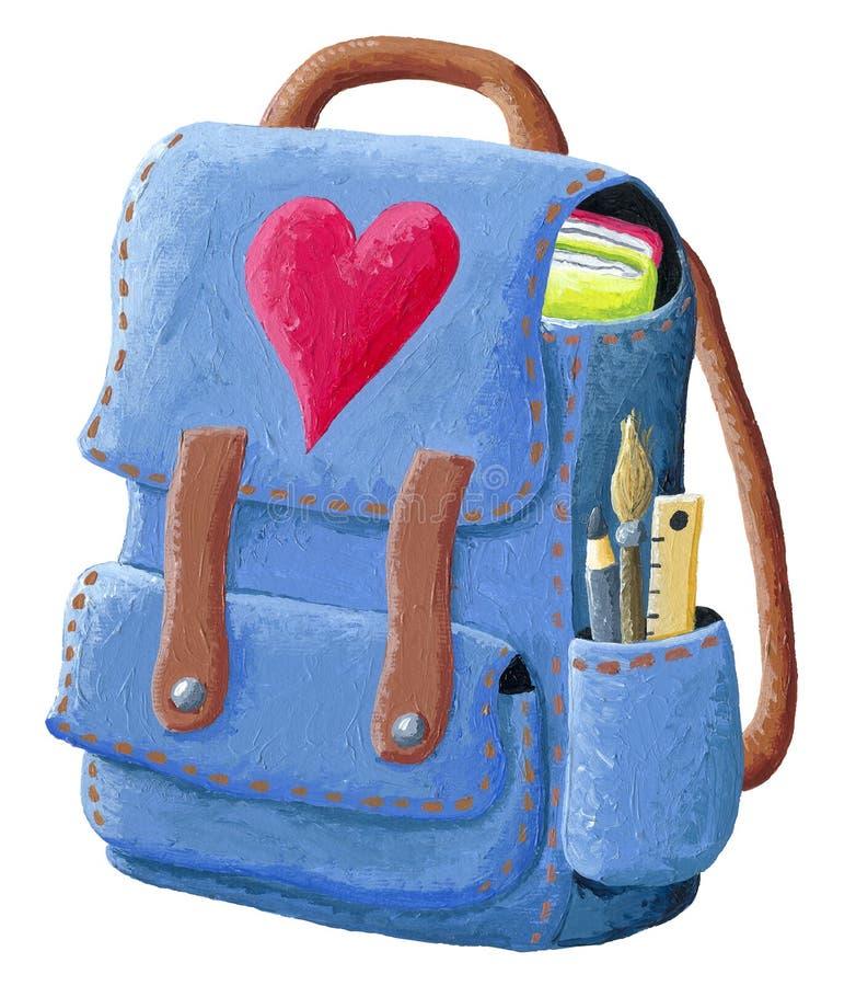 Illustration de sac à dos d'école sur un fond blanc illustration libre de droits