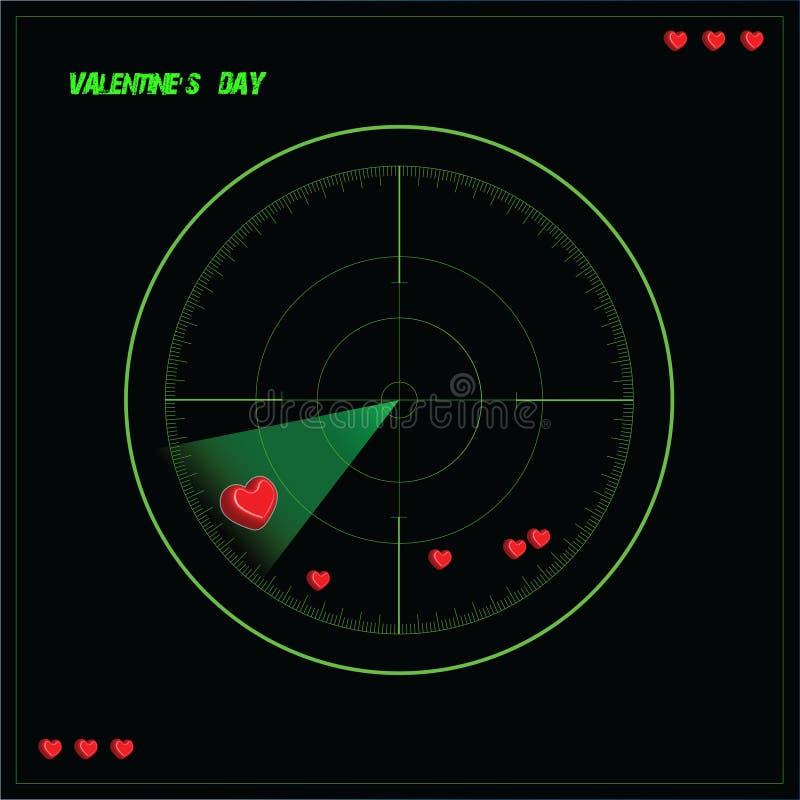 Illustration de Saint-Valentin avec le coeur devant un radar image libre de droits
