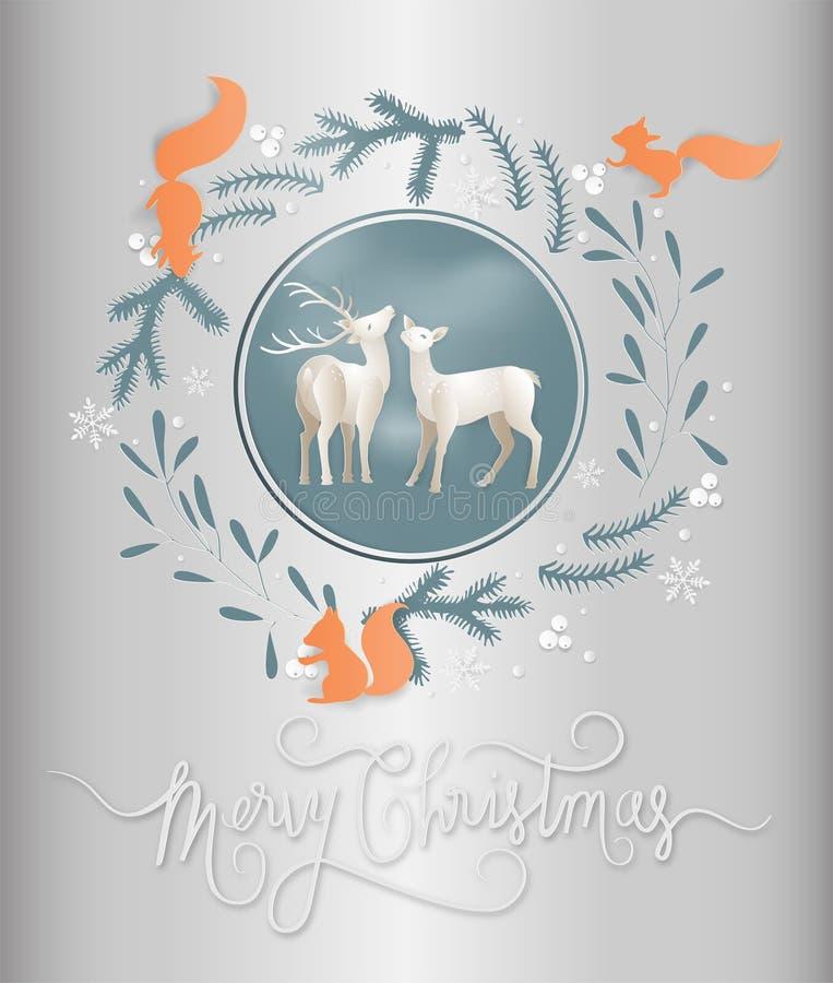 Illustration de saison et de renne d'hiver de carte postale avec le squirre illustration libre de droits