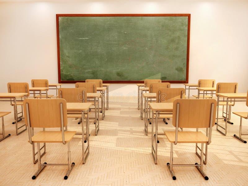Illustration de salle de classe vide lumineuse avec des bureaux et des chaises illustration libre de droits