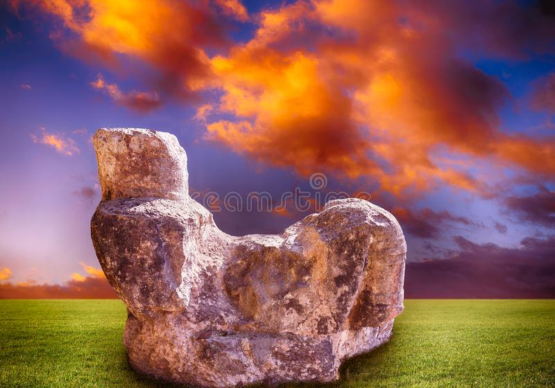 Illustration de sculpture en Chichen Itza Chac Mool image libre de droits