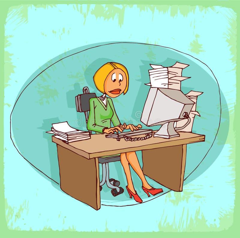 Illustration de secrétaire de bureau de bande dessinée, icône de vecteur illustration libre de droits