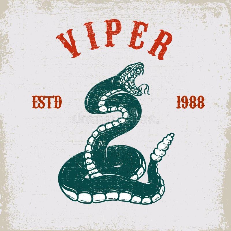 Illustration de serpent de vipère sur le fond grunge Concevez l'élément pour l'affiche, carte, T-shirt, emblème illustration stock