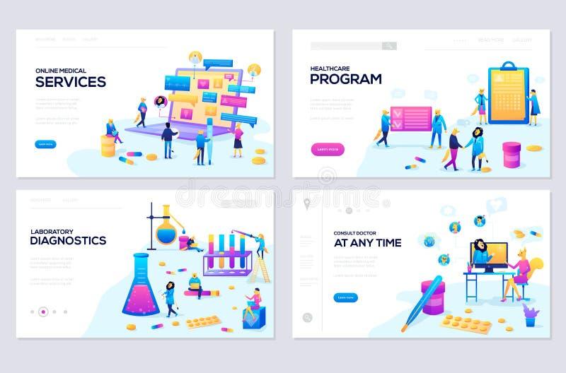 Illustration de service de santé en ligne, soins de santé, laboratoire, concepts modernes de vecteur de services médicaux illustration stock