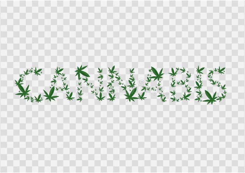 Illustration de signe de cannabis L'inscription est garnie des feuilles de marijuana Vecteur Ic?ne vert-fonc? sur transparent illustration libre de droits