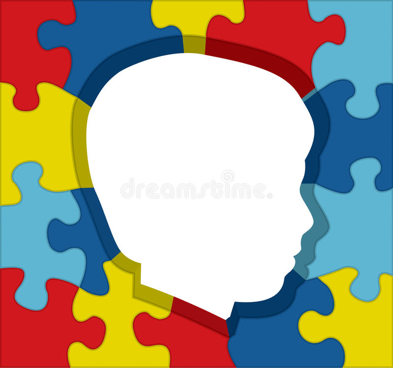 Illustration de silhouette de puzzle de conscience d'autisme illustration de vecteur