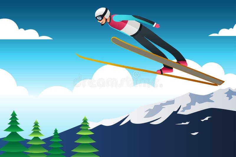 Illustration de Ski Jumping Athlete en concurrence illustration stock