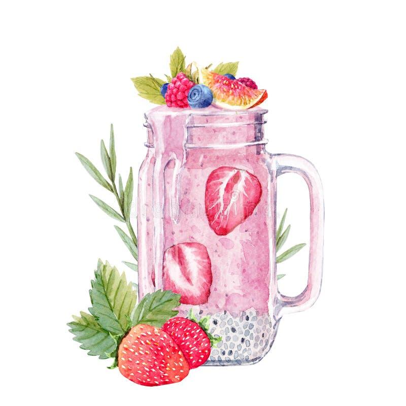 Illustration de smoothie d'aquarelle illustration libre de droits