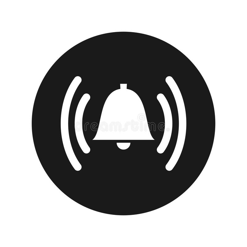 Illustration de sonnerie de vecteur de bouton de rond de noir mat d'icône de cloche d'alarme illustration stock