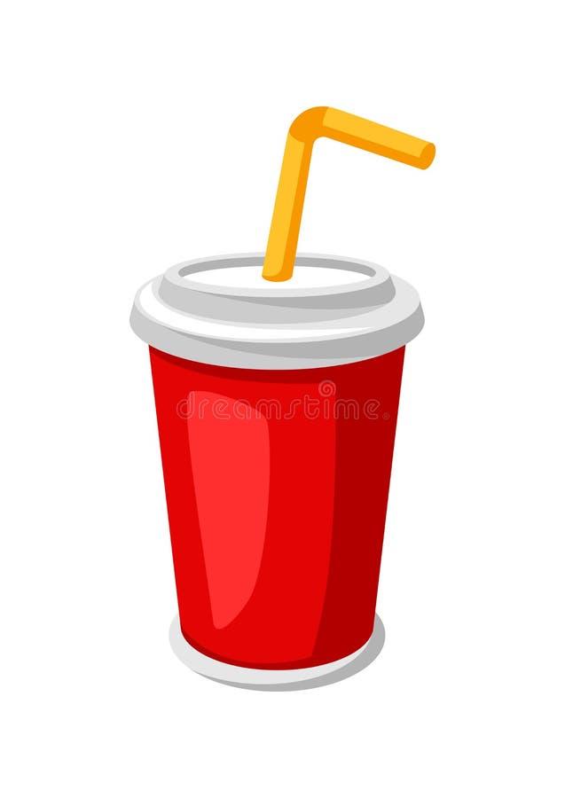 Illustration de soude ou de kola stylisée dans la tasse de papier illustration libre de droits