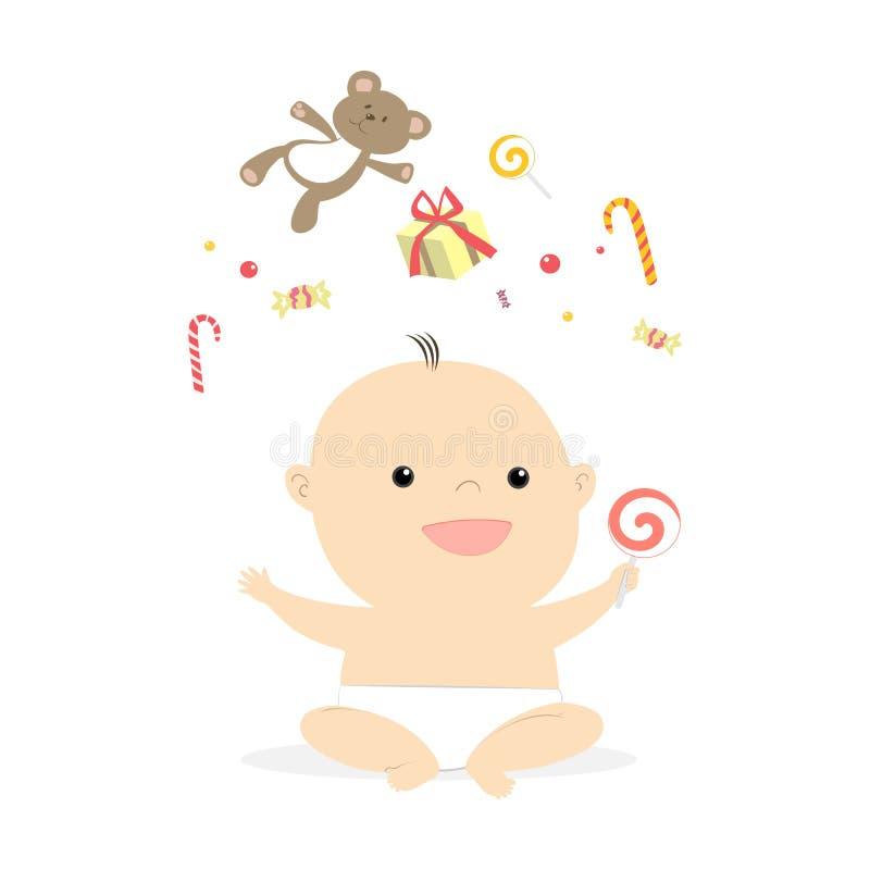 Illustration de sourire de petit bébé mignon illustration libre de droits