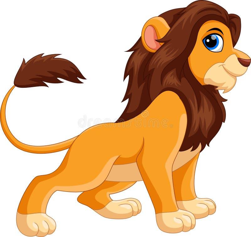 Illustration de sourire mignon de bande dessinée de lion illustration de vecteur