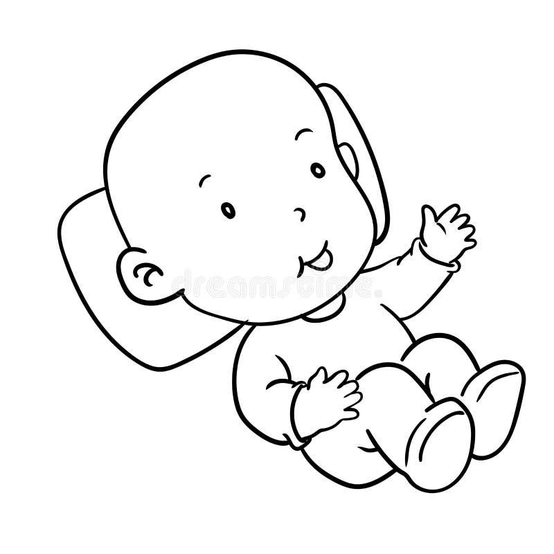 Illustration de sourire-vecteur de bébé de dessin de main illustration stock